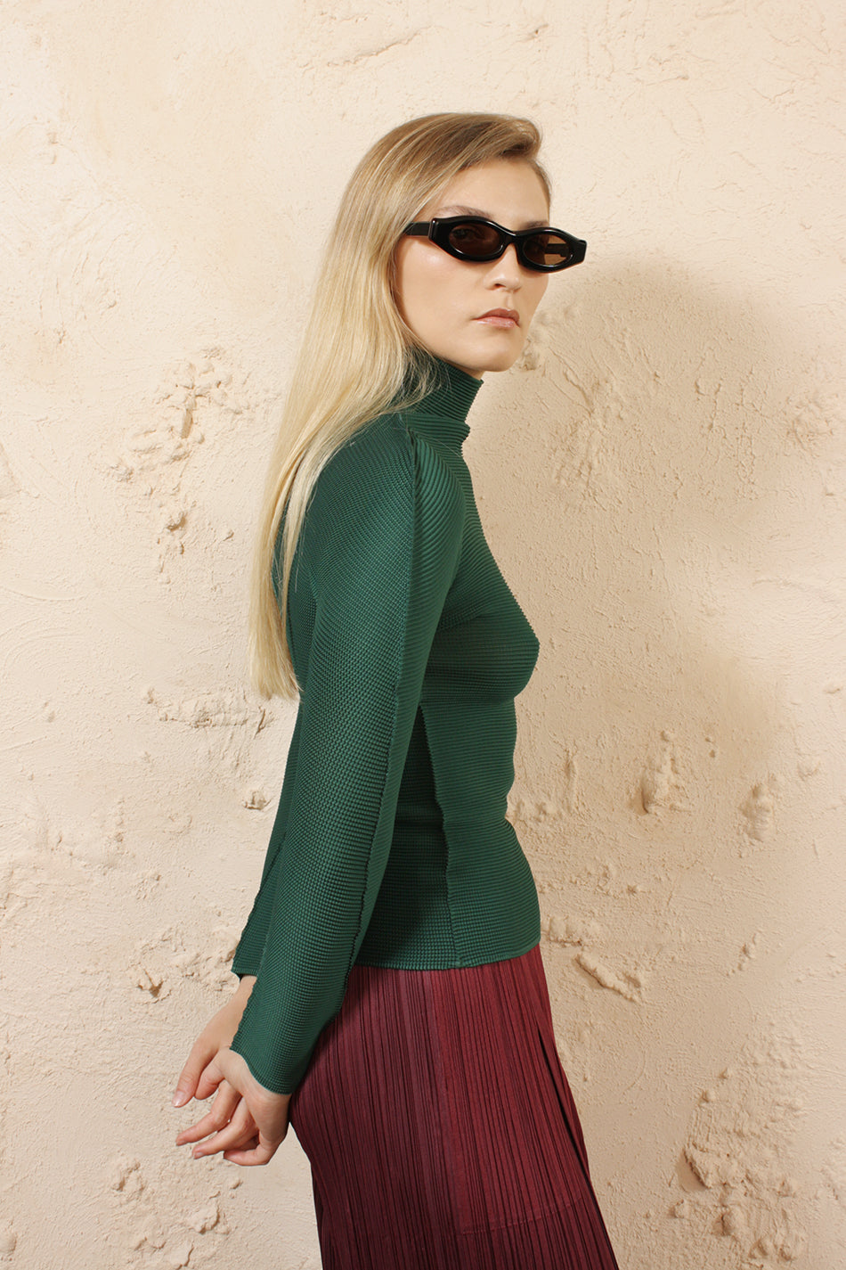 Micro Pleat Green Long Sleeve