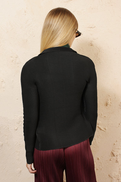 Micro Pleat Black Cardigan