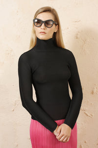 Micro Pleat Black Long Sleeve