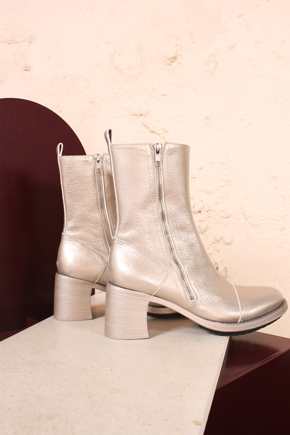 Paradig Silver Ankle Boot