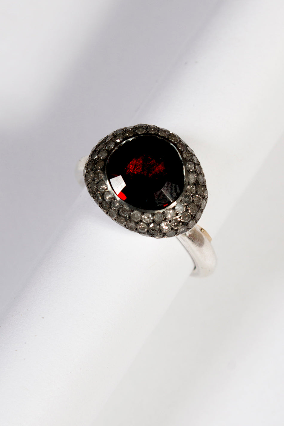 Carrie Grey Diamond Garnet Ring