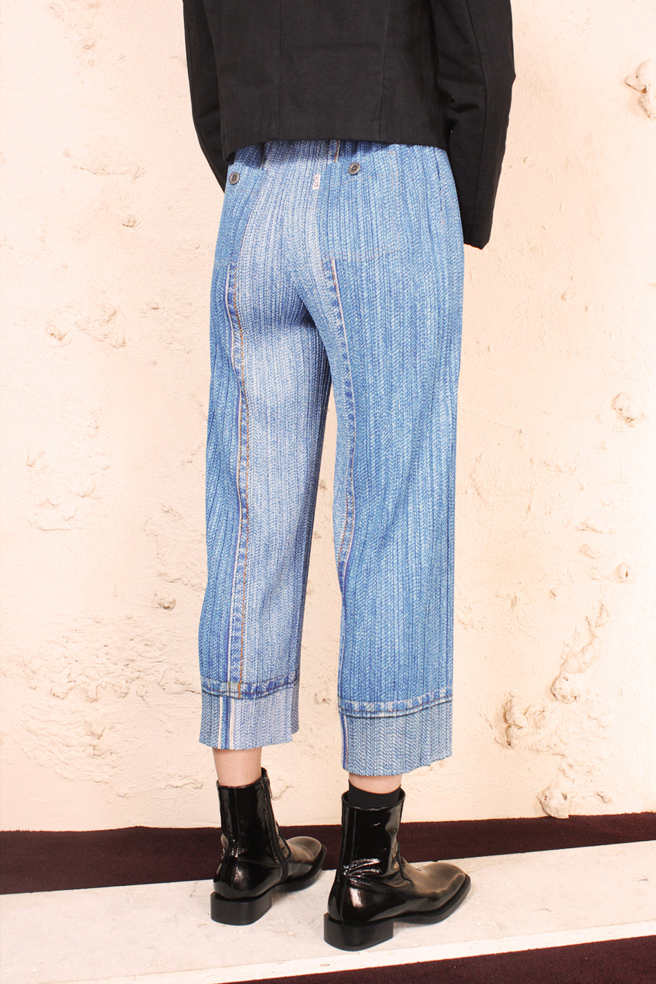 Two Tone Denim Print Trouser