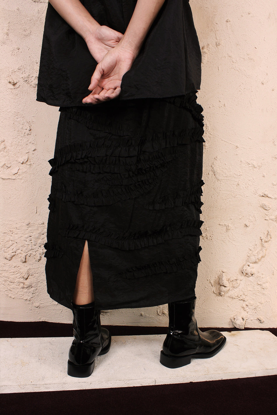 Shani Black Ruffle Skirt