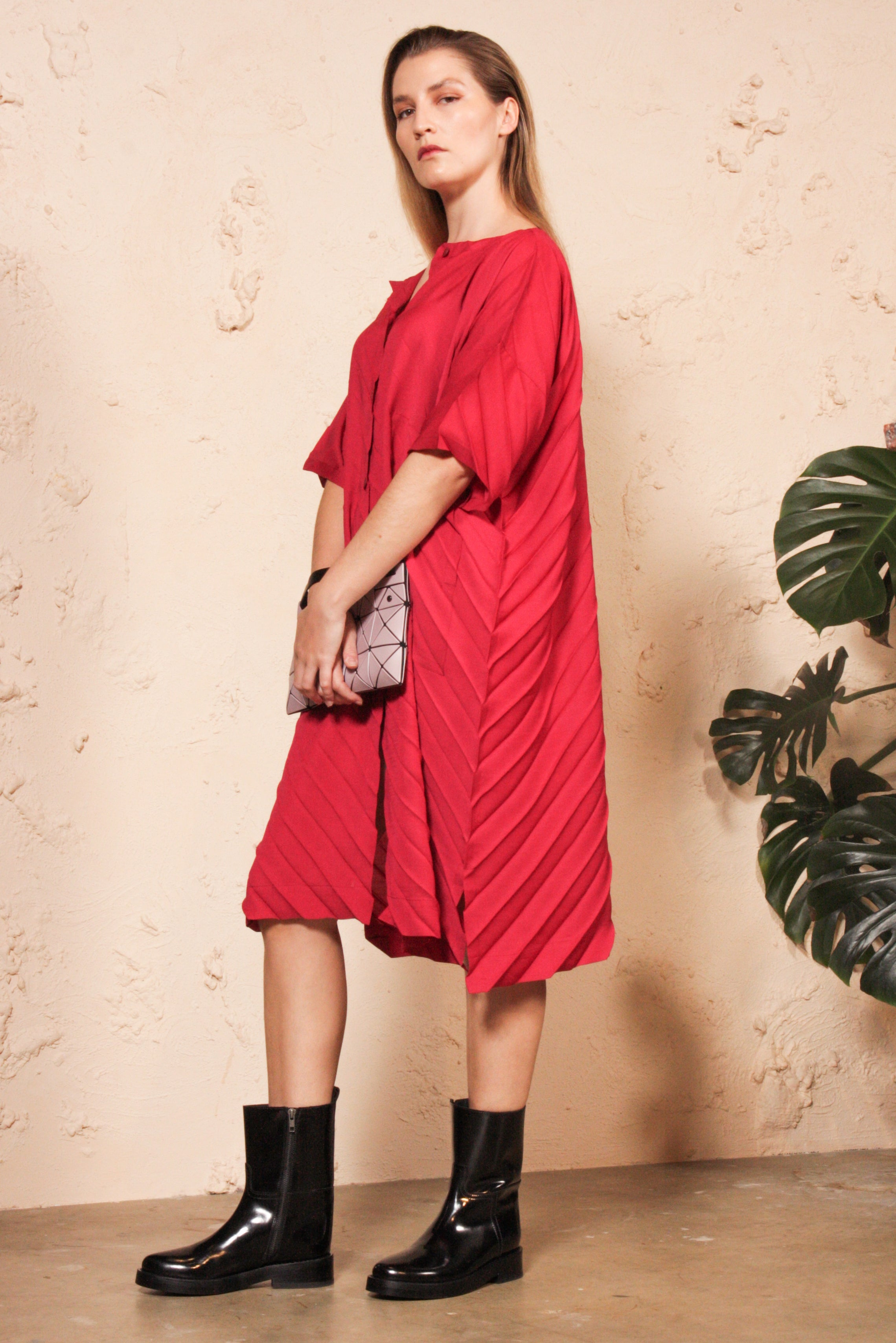 Wool Mix Pleated Dress