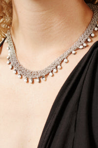 Swarovski Thin Necklace with Chain and Leather