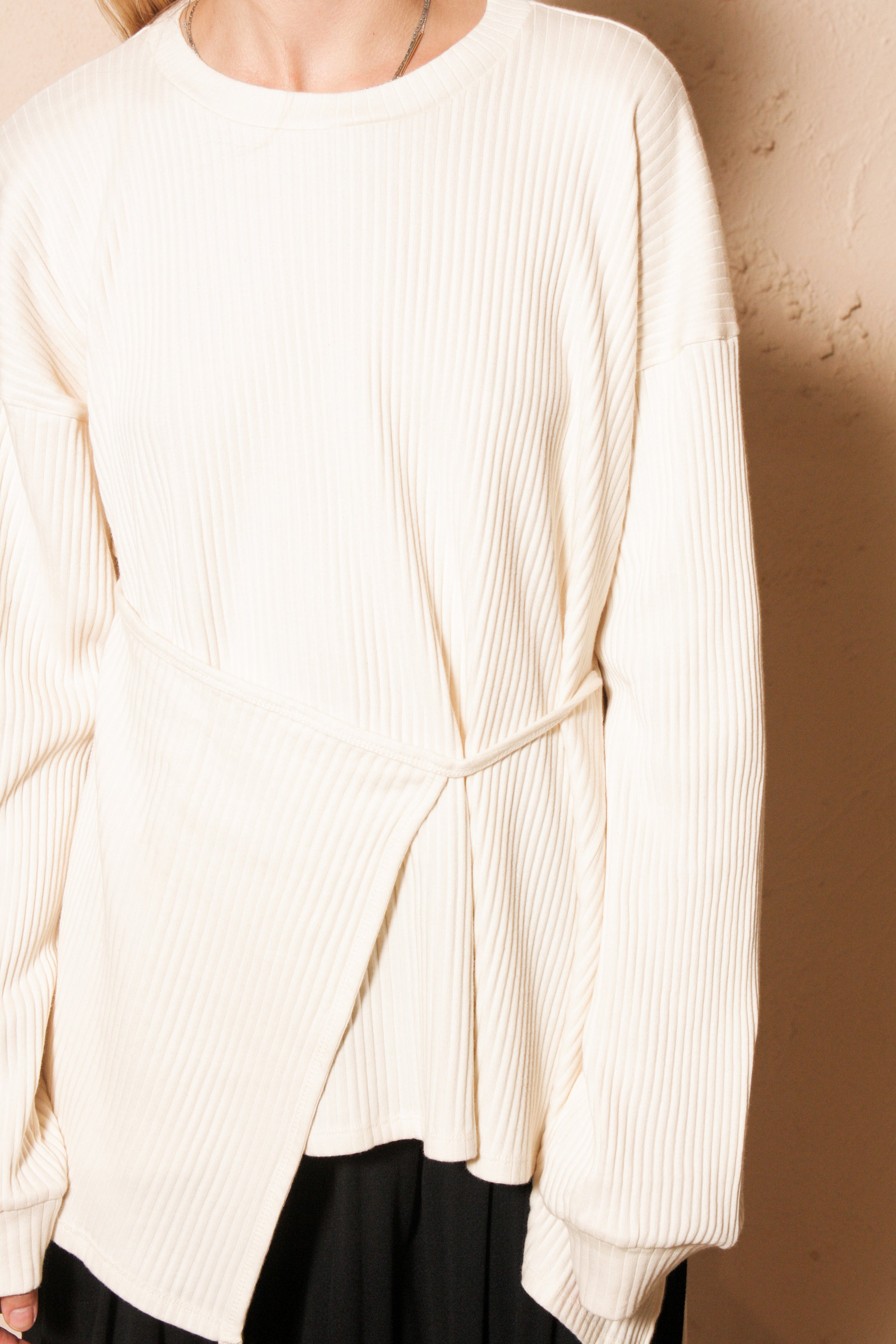 Shaw Long Sleeve Fleece Rib Off White