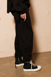 Sweat Pants Fleece Rib Black