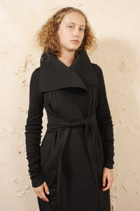 Padded Long Wrap Coat