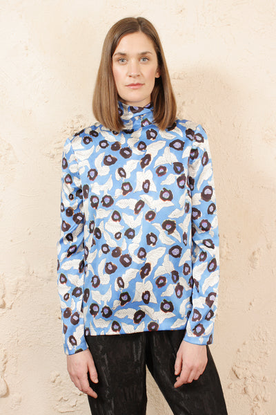 Tija Blue Floral High Neck