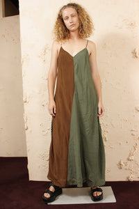 Contrast Fabric Slip Dress