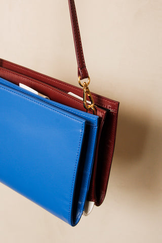Blue and Rust Crossbody Clutch Bag