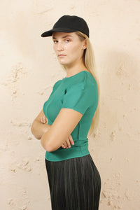 Short Sleeve Micropleat Top Green