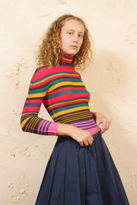 Micropleated Stripe Top