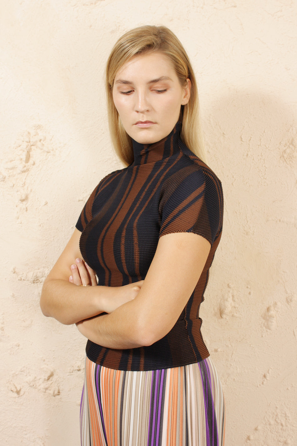 Printed Micropleat Top Brown
