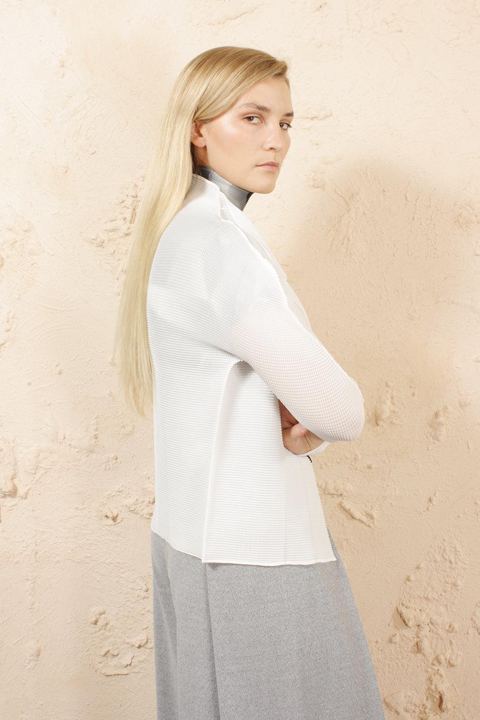 Micropleat Cardigan White