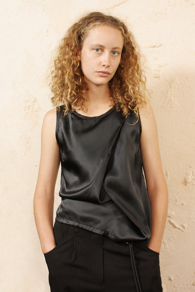 Draped Black Top With Ties