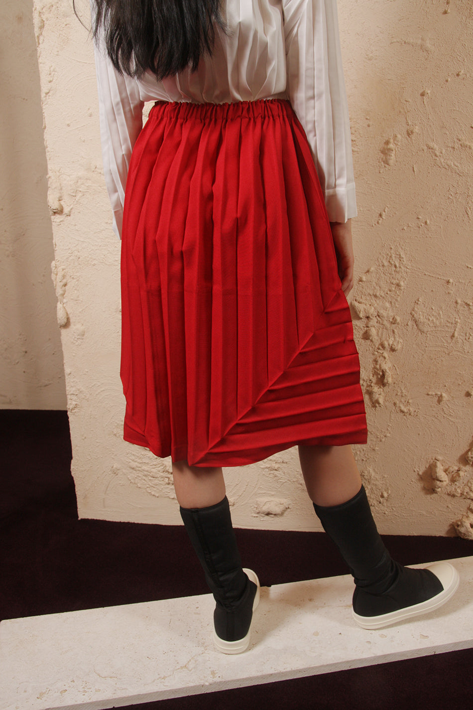 Pleated Red Skirt