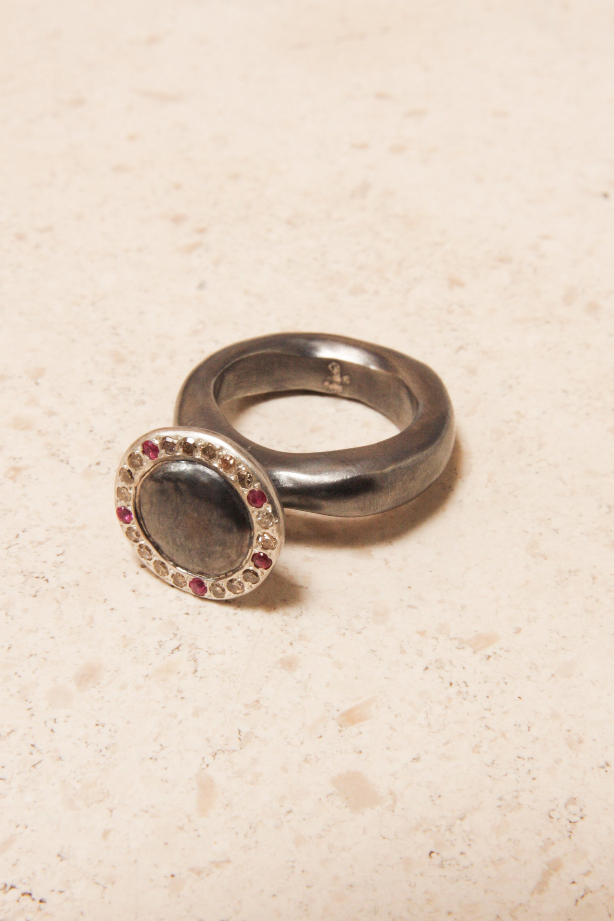 Emica Diamond and Red Sapphire Ring
