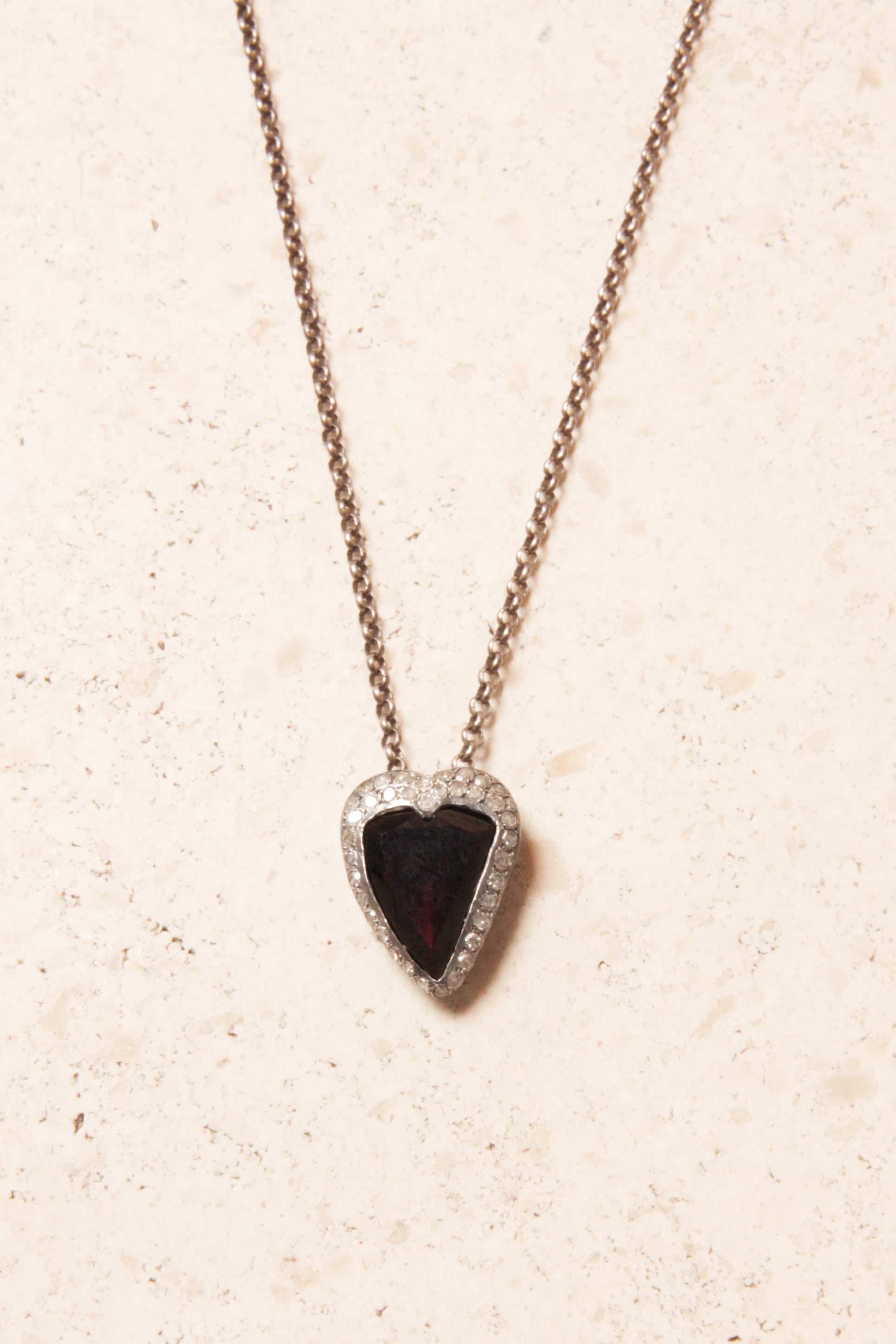 Heart Garnet and Grey Diamond Necklace