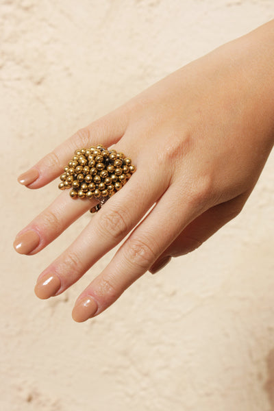 Metallic beads ring