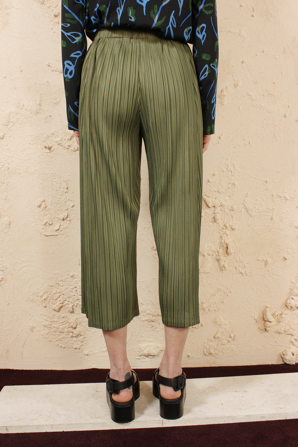 Wide Cropped Trouser Green