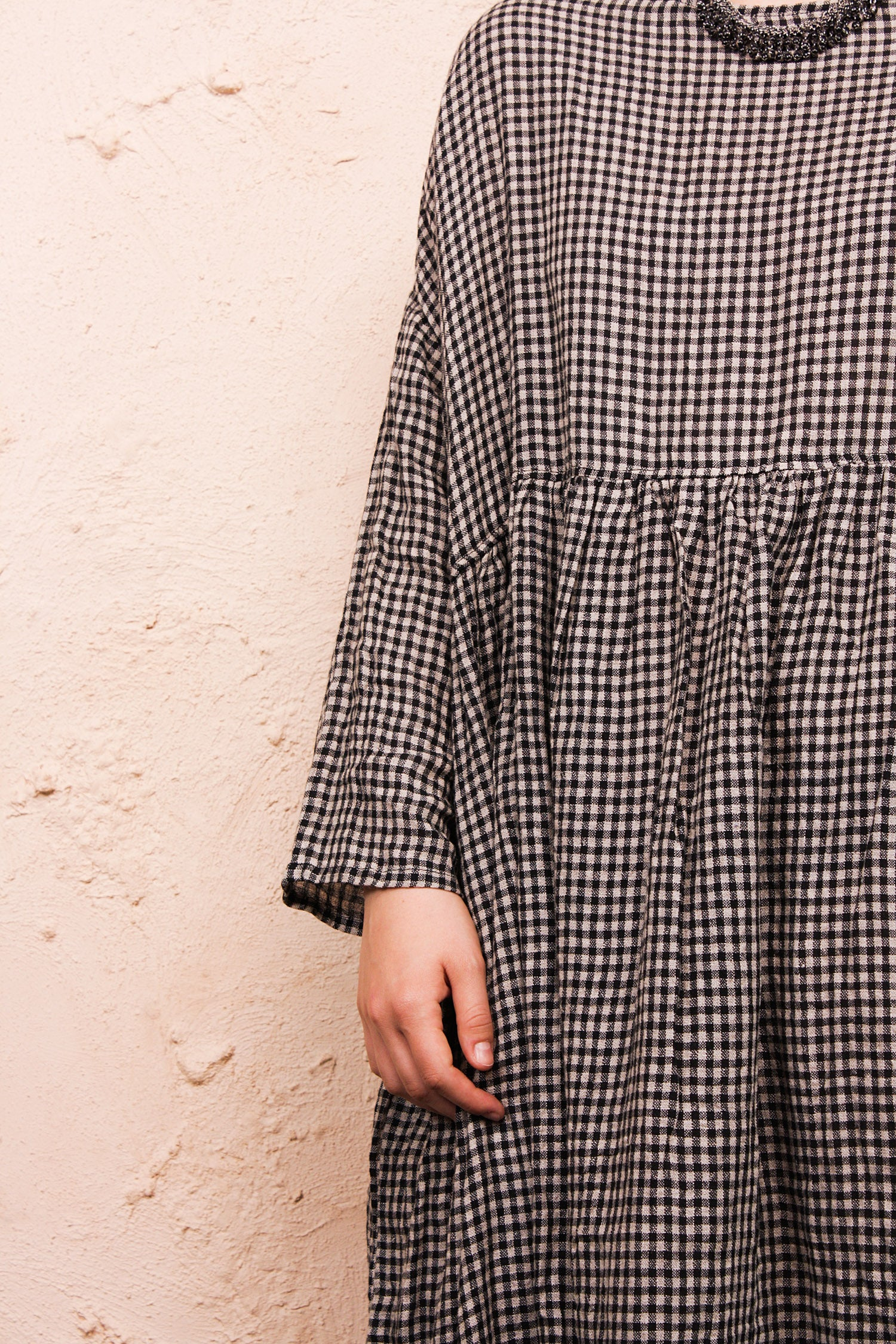 Black Boil Washer Gingham Dress