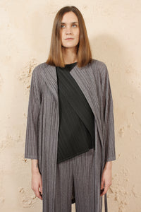 Long Cardigan with Tie Grey