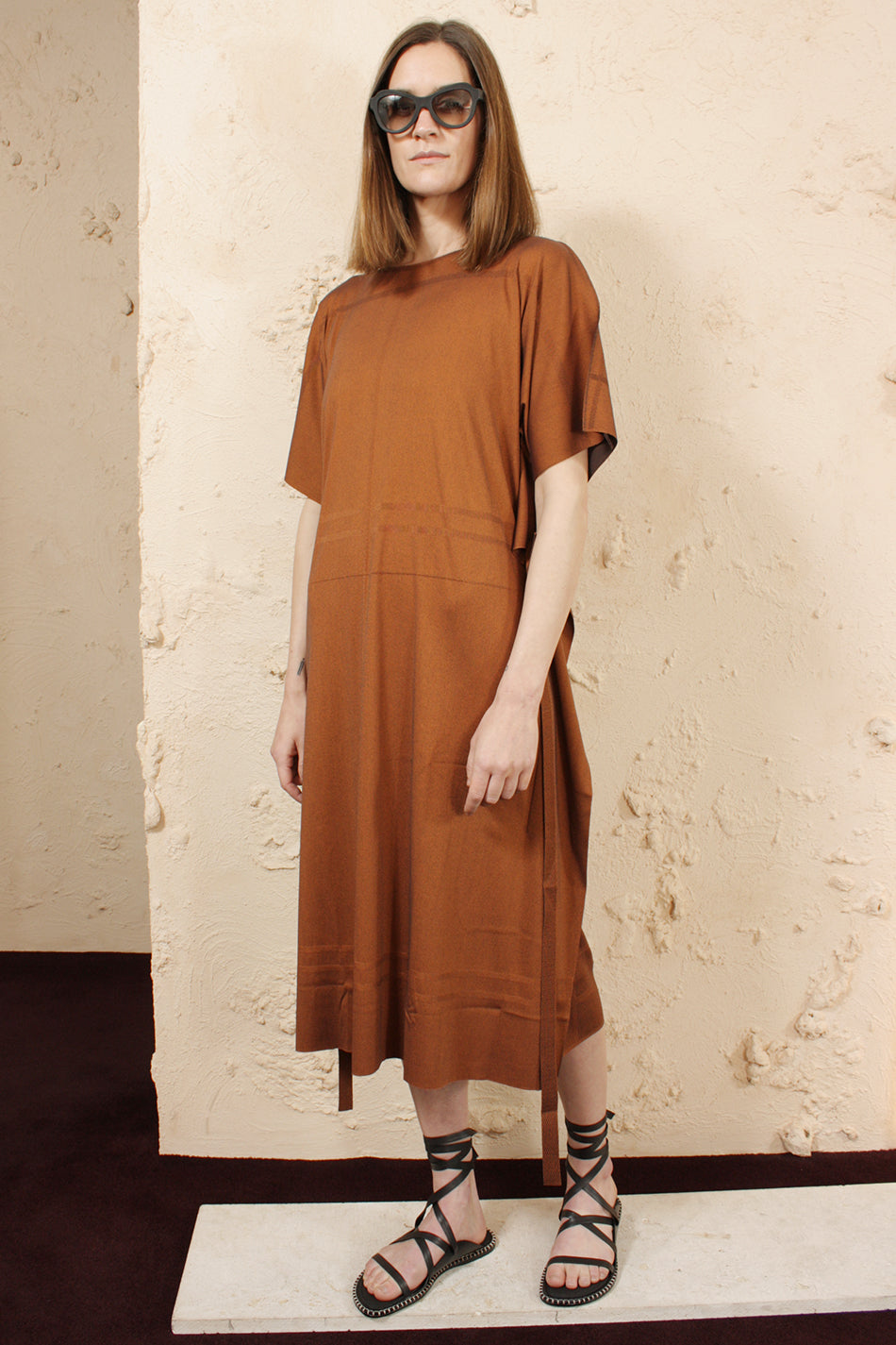 Relaxed Tie Dress Brown