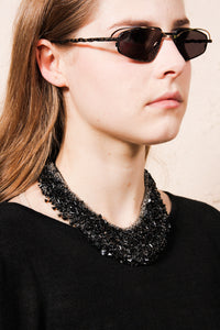 Black Leather Swarovski Necklace