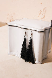 Knitted black steel earrings