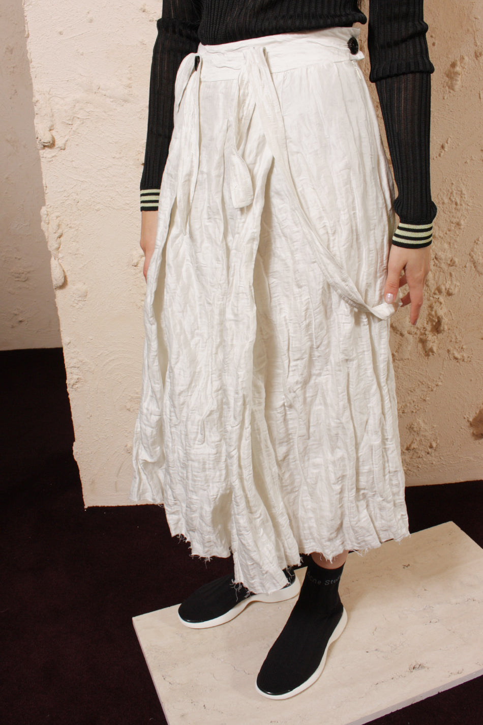 White Pleated Suspender Skirt