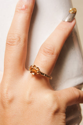 Gold Baguette Claw Ring with Citrine