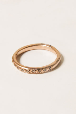 Rose Gold Atlas Ring with Champagne Diamond