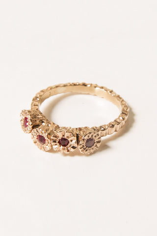 Gold Teeth Cluster Ring with Ruby