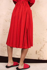 Wide Pleats Skirt Red