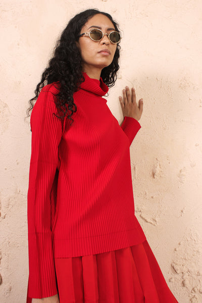 Soft Pleated Long Sleeve Top