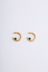 Luna Earrings Gold Green Onyx