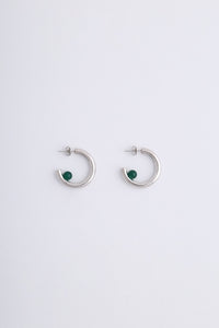 Luna Earrings Silver Green Onyx