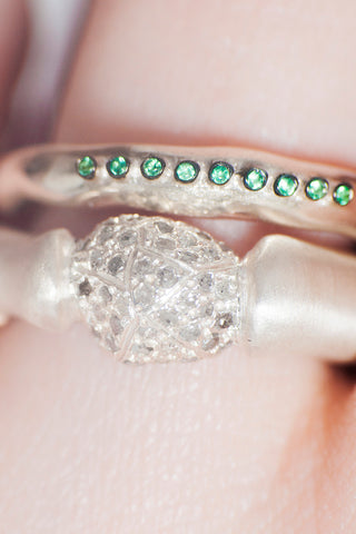 Pillar Icy Grey Diamond Ring