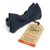 Dark blue hatched tweed bow tie - front view
