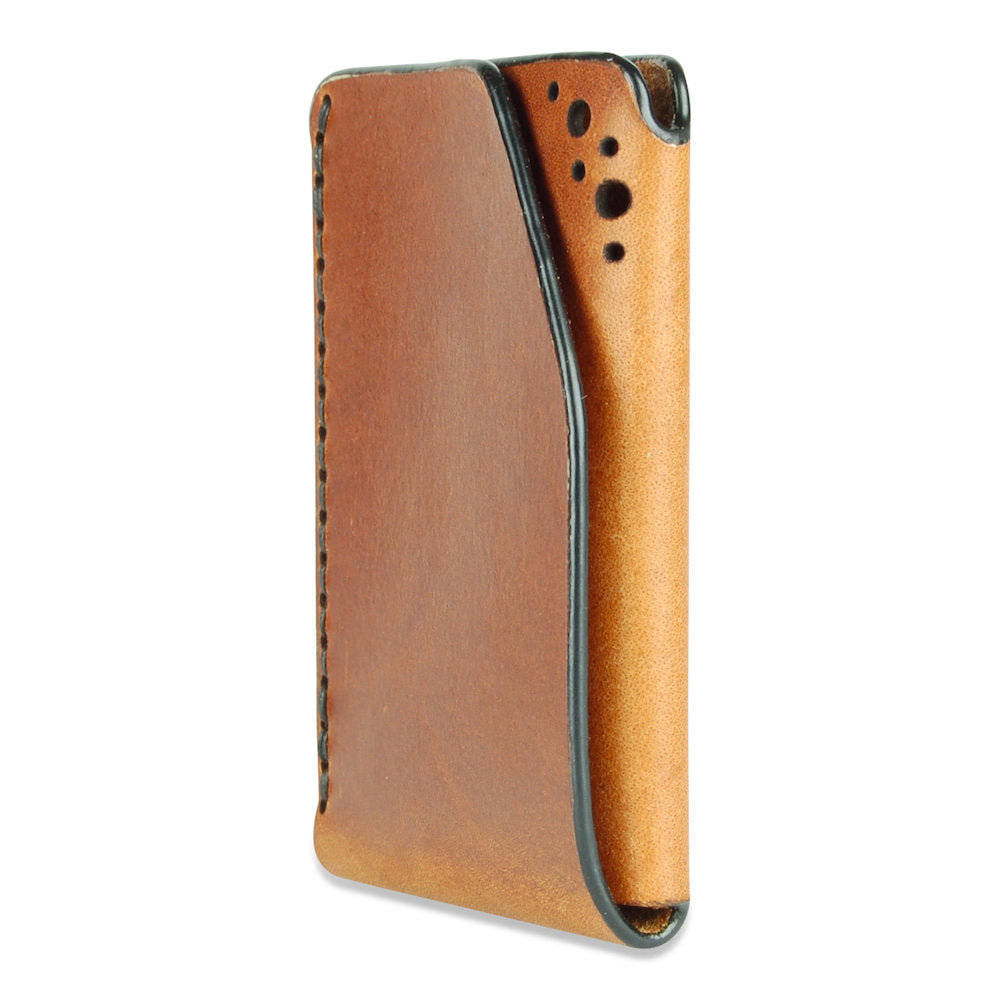 Front view of chestnut brogue leather card wallet by Fiain
