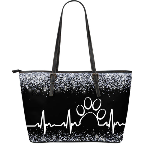 Paw heartbeat tote bag-black