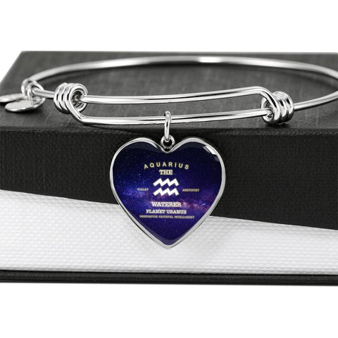 Aquarius Zodiac Sign - Awesome Adjustable Heart Bangle - Ideal Gift