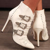 Bottines cloutées pointues 3 boucles : blanc