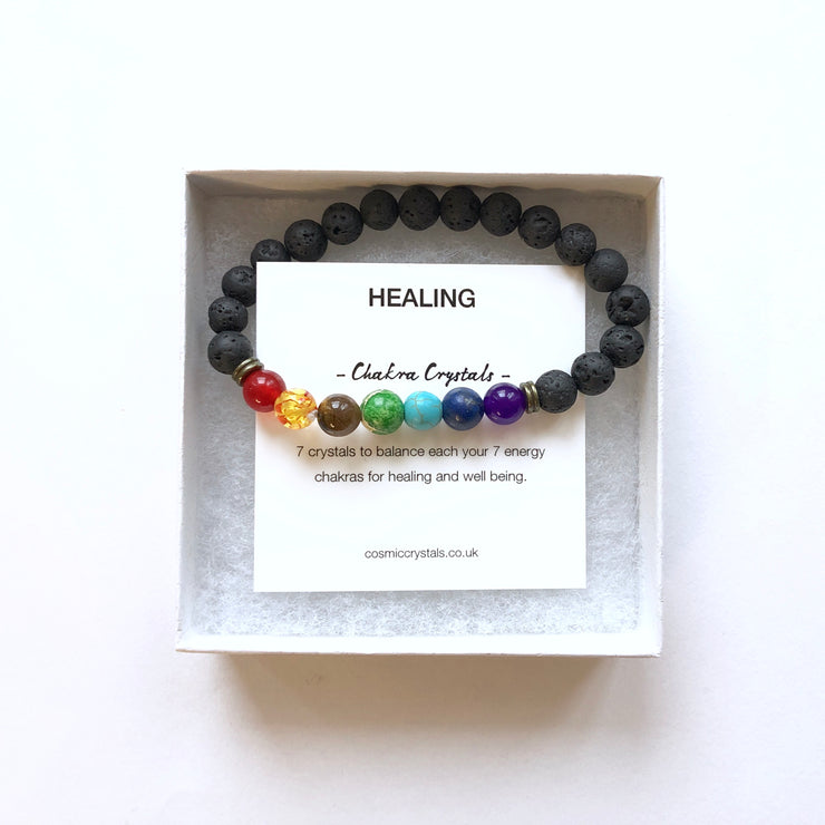 Chakra Bracelet, Bracelet- Conscious Crystals, healing crystal jewellery, crystal pendants uk, crystal meanings