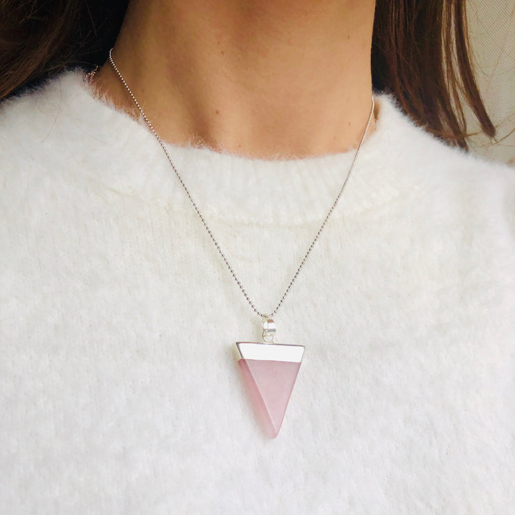Love Triangle (silver), Triangle Pendant- Conscious Crystals, healing crystal jewellery, crystal pendants uk, crystal meanings