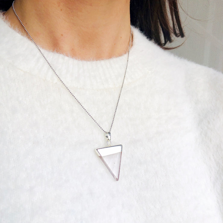Silver Quartz Triangle Necklace - For Positive Energy | Cosmic Crystals