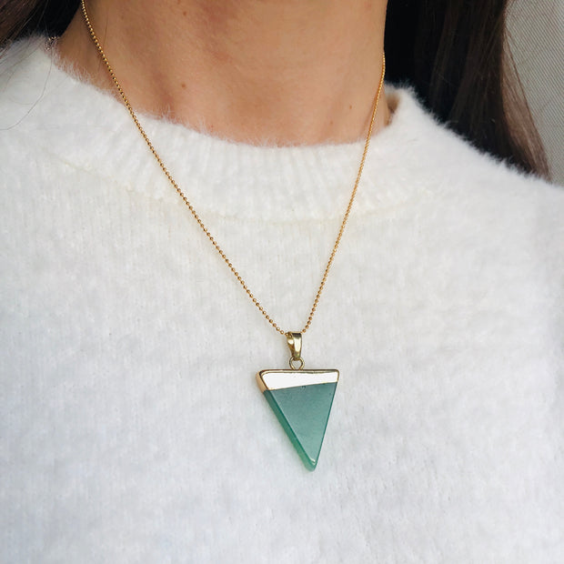 Luck Triangle (gold), Triangle Pendant- Conscious Crystals, healing crystal jewellery, crystal pendants uk, crystal meanings