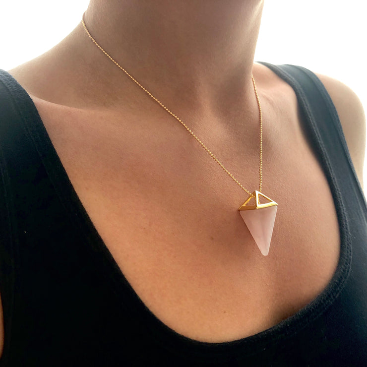 Love Pyramid (gold), PENDANT- Conscious Crystals, healing crystal jewellery, crystal pendants uk, crystal meanings