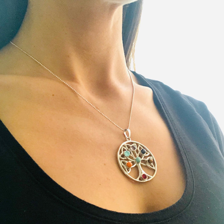 Tree Of Life Necklace (silver), Chakra Pendant- Conscious Crystals, healing crystal jewellery, crystal pendants uk, crystal meanings